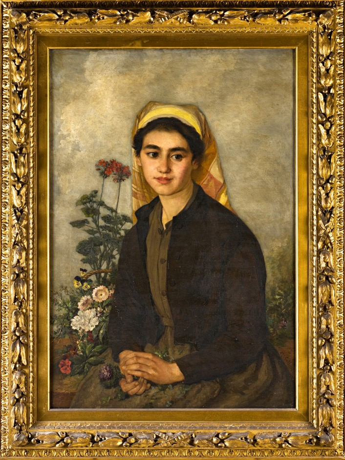A Peasant Girl with Flowers, by Alexandre Désiré Collette (1814-1876).