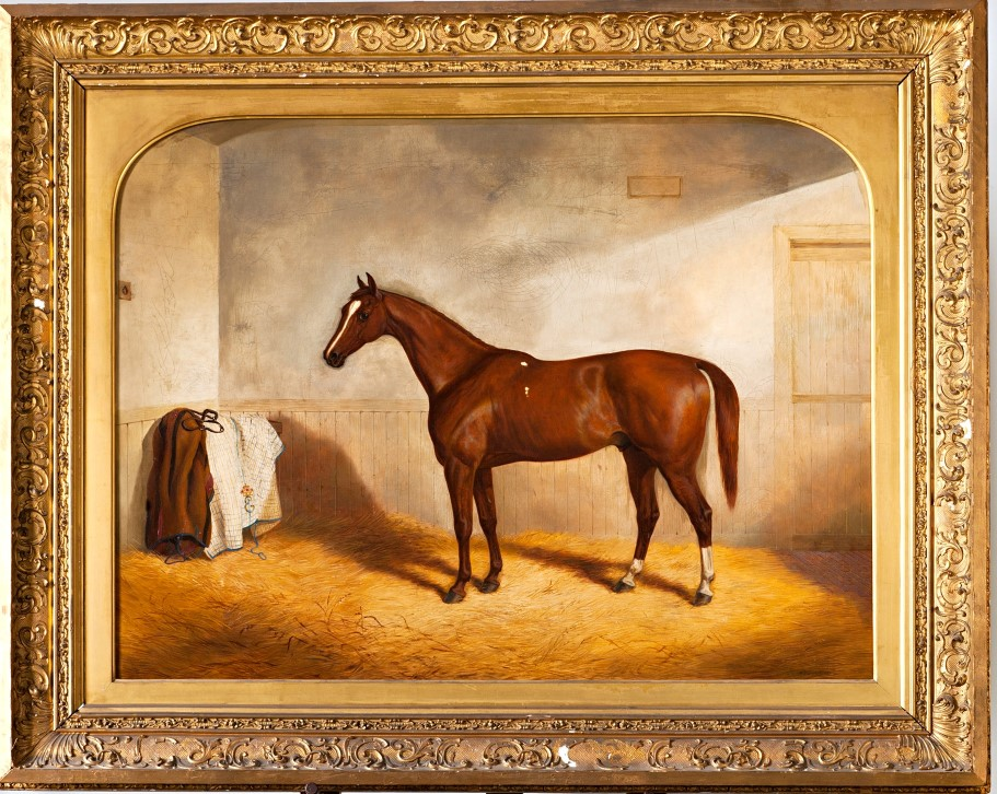 Stockwell, a Chestnut Racehorse in a Stable, by Richard Denew (1804-1876).