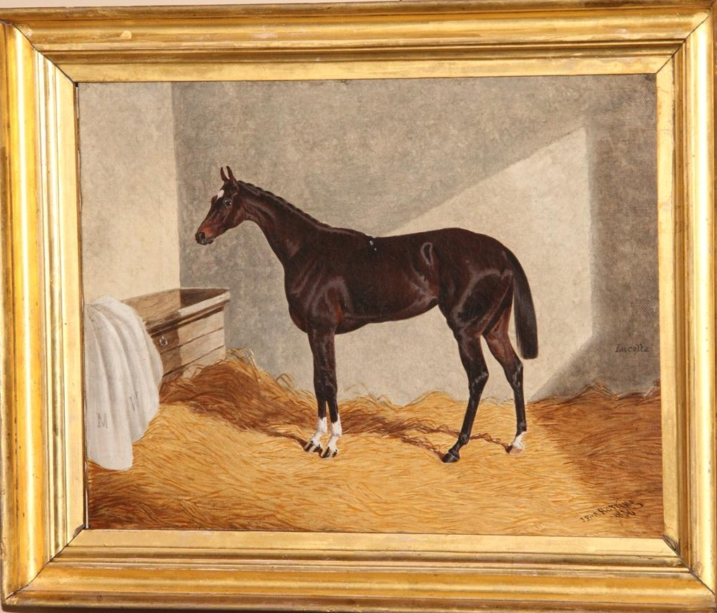 Lucetta, a Dark Bay Racehorse in a Stable, by John Frederick Herring Sen. (1795-1865).