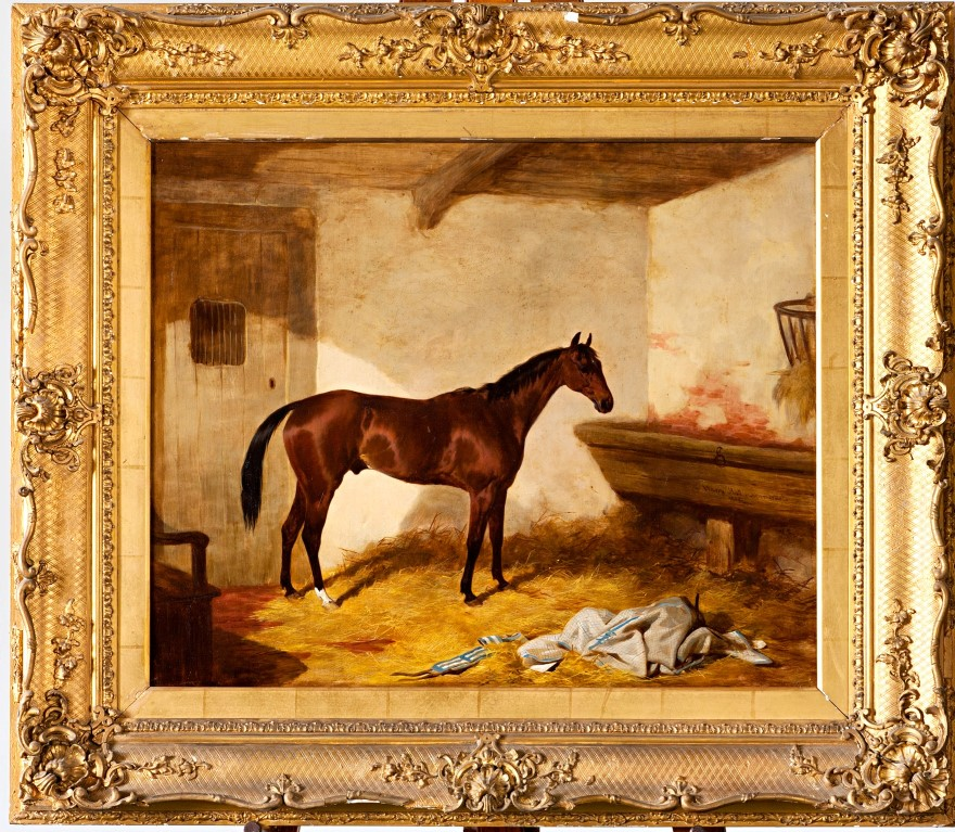 Woodpigeon, a Bay Racehorse in a Stable, by Harry Hall (1812-1888).