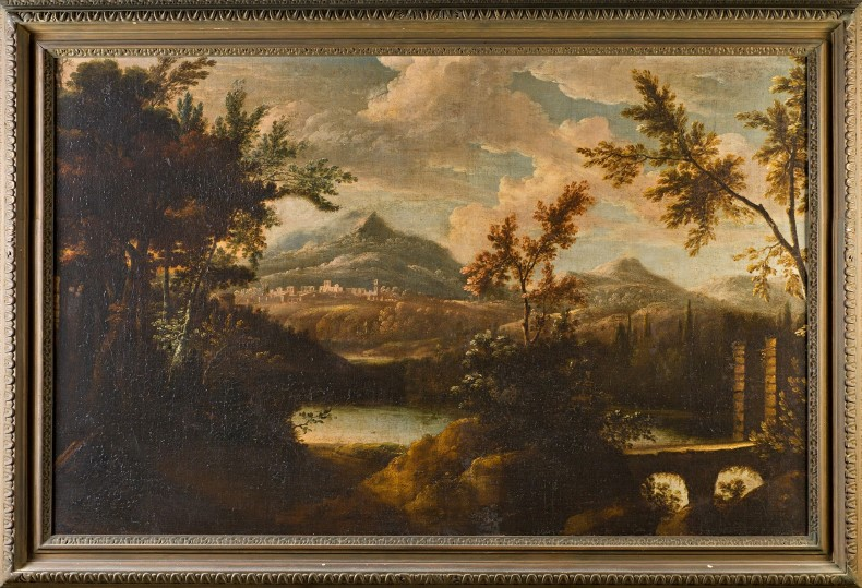 An Extensive Italianate Landscape with a Bridge and a distant Village, Circle of Gerard Edema (c.1652-c.1700).