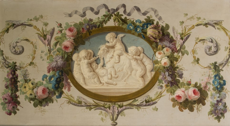 A Grisaille Medallion of Putti Playing with a Goat Surrounded by a Garland of Flowers, by Piat Joseph Sauvage (1744-1818).
