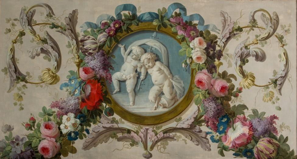 A Grisaille Medallion of an Infant Satyr and a Putto Surrounded by a Garland of Flowers, by Piat Joseph Sauvage (1744-1818).