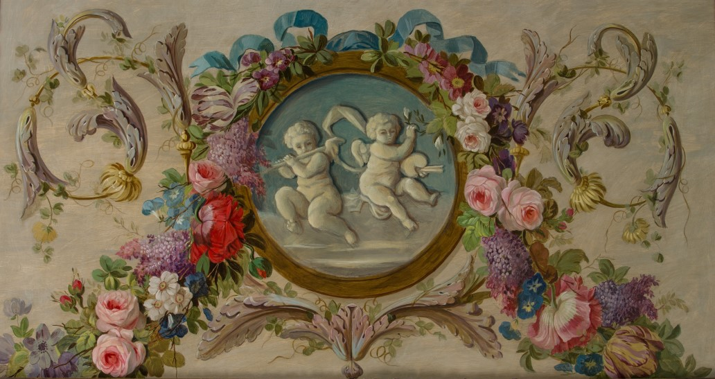 A Grisaille Medallion of Putti Playing Musical Instruments Surrounded by a Garland of Flowers, by Alec Cobbe (b. 1945), in the manner of Piat Joseph Sauvage
