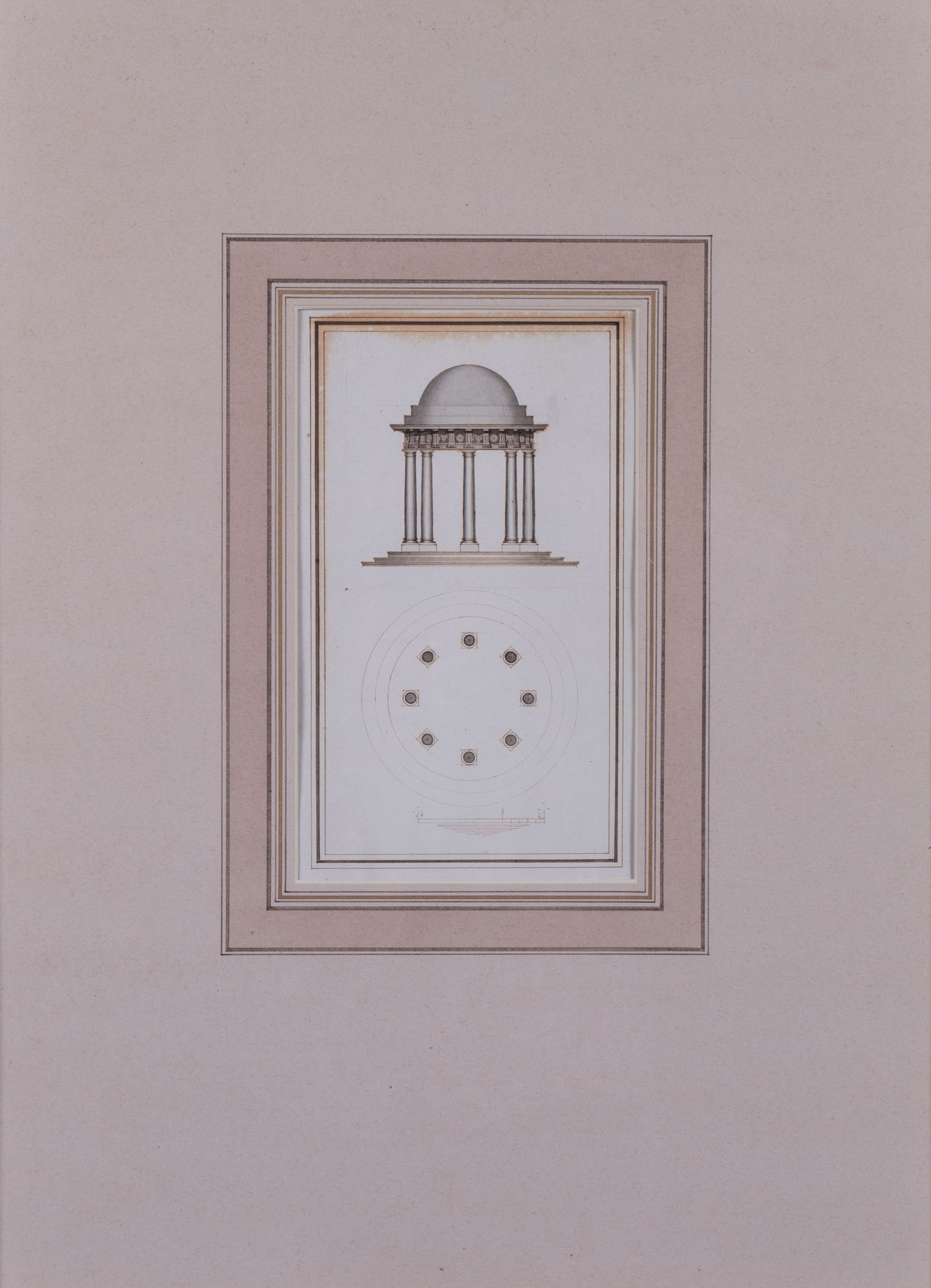 Plan and elevation for a Doric temple, English School, circa 1760.