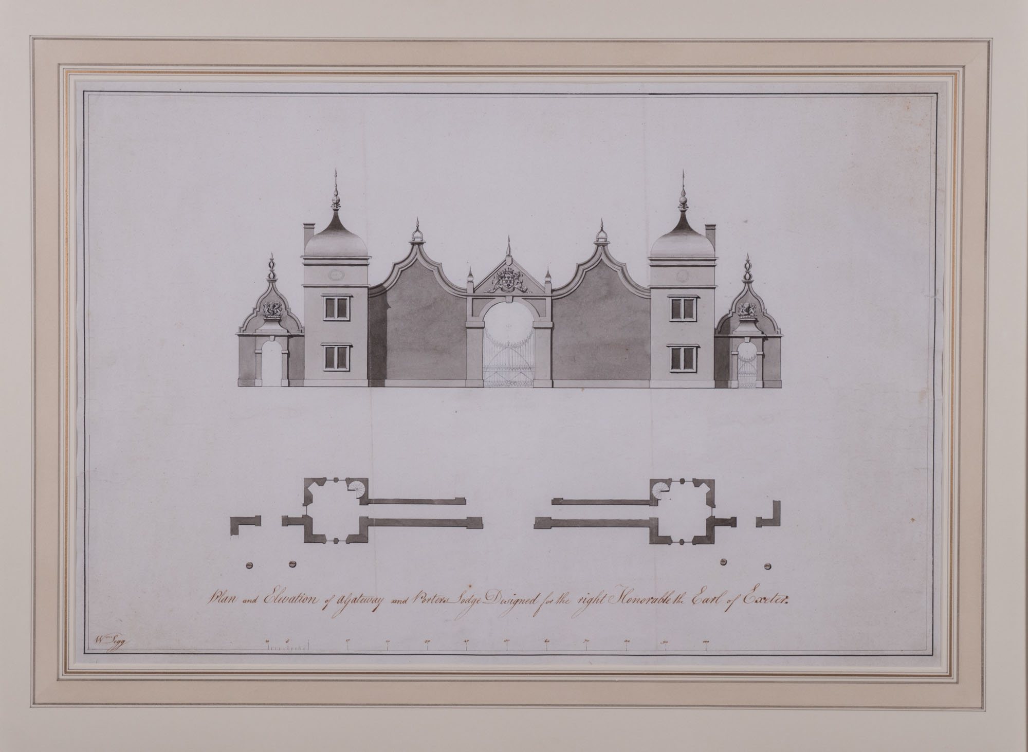 Plan and elevation of a Gateway and the Bottle Lodges at Burghley, by William Daniel Legg (d. 1806).