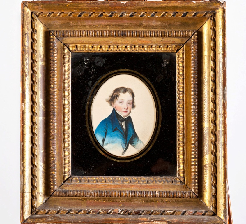 Portrait of a Young Boy in a Blue Coat , Circle of Adam Buck (1759-1833).