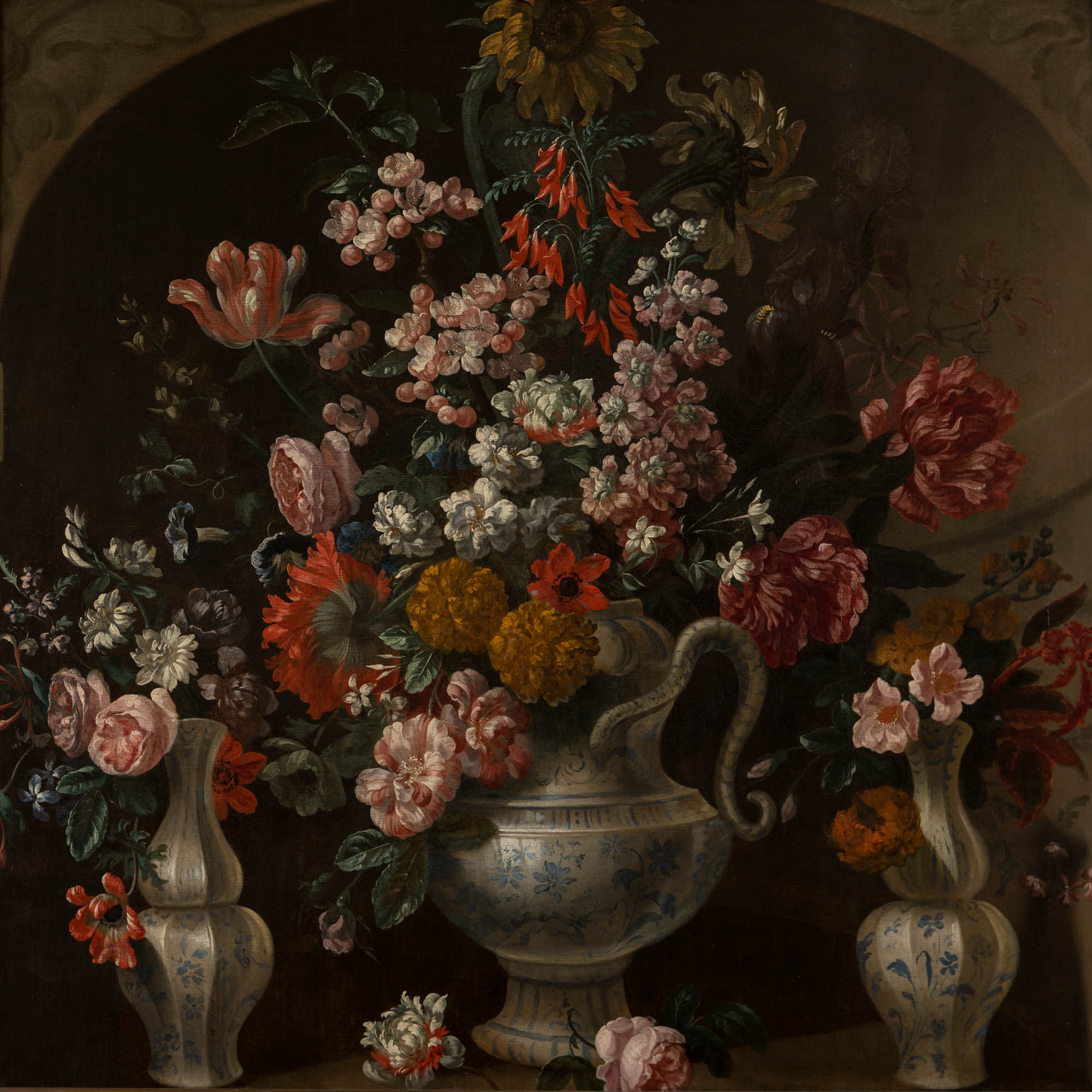 A Still Life of Flowers in Three Blue and White Faience Vases, Circle of Pieter Casteels III (1684-1749).