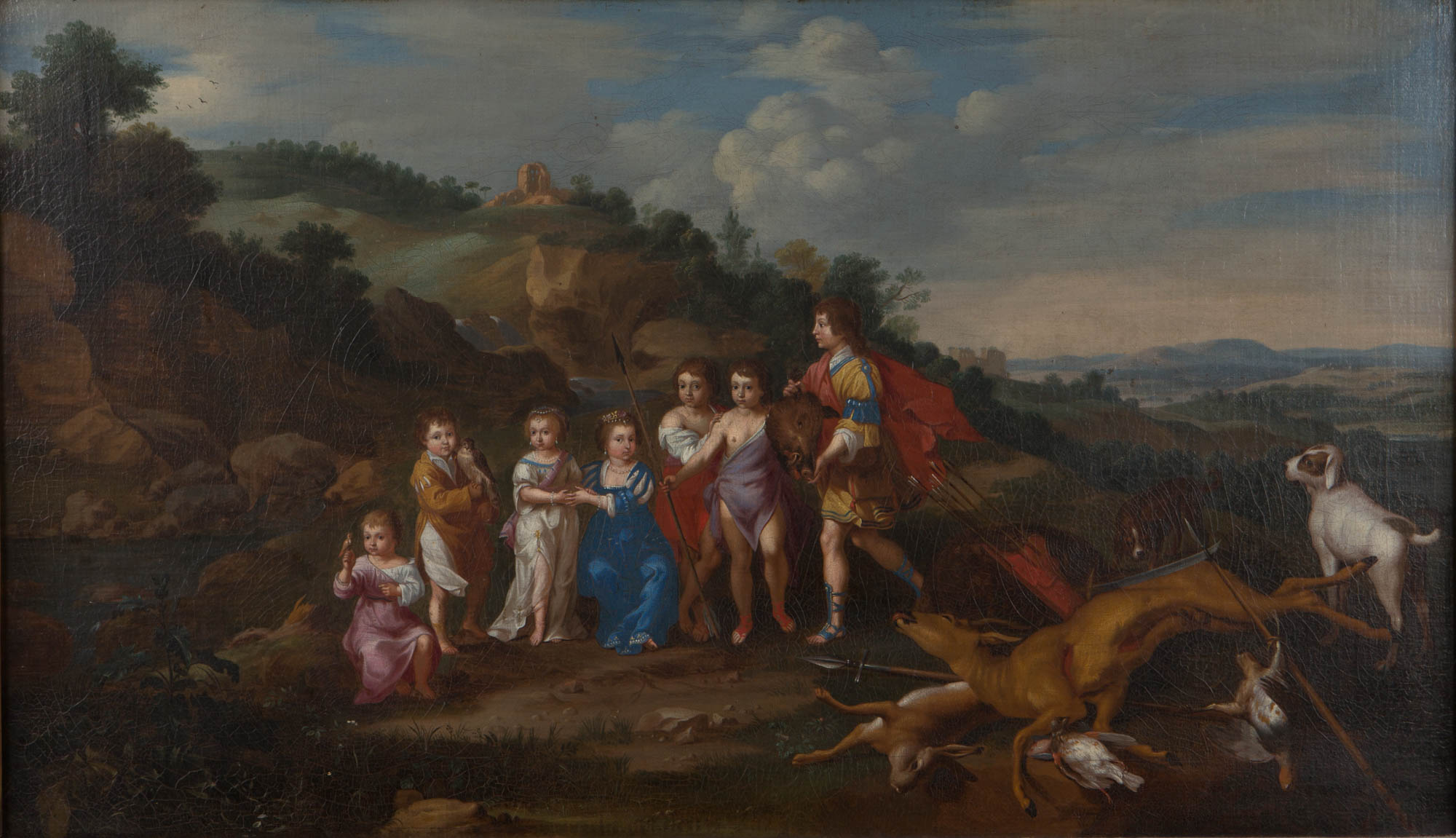 The Seven Eldest Children of the Elector Palatine and Elizabeth Stuart in a Landscape with Hunting Trophies, After Honthorst and Poelenburch.