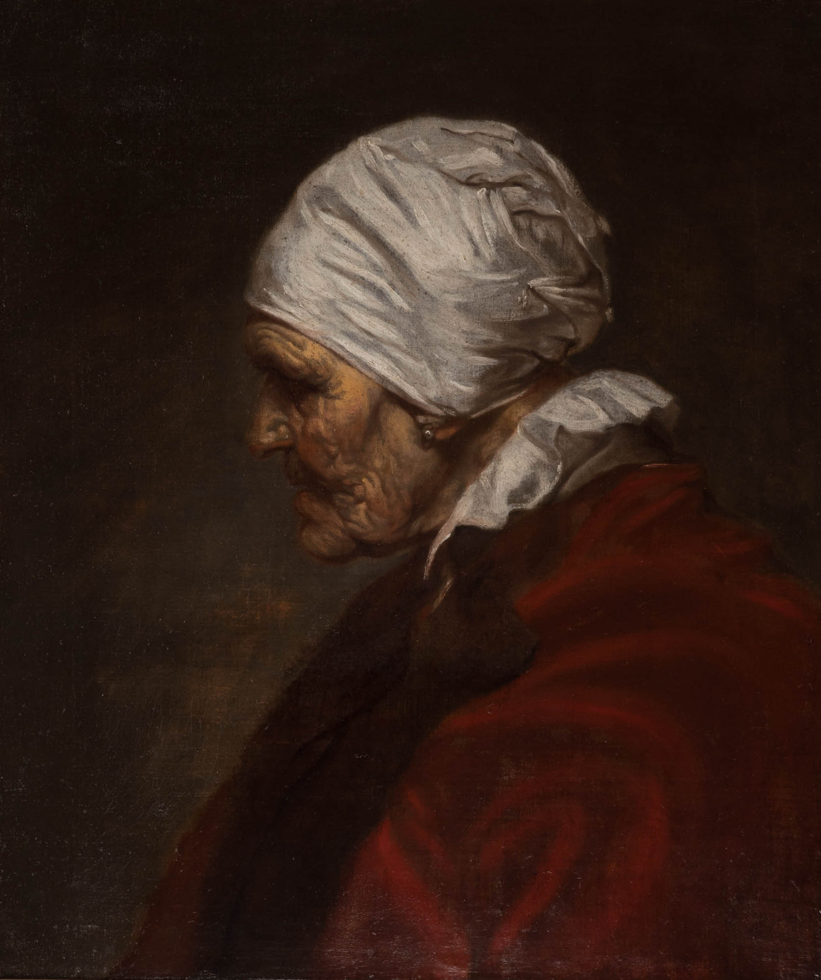 Head of an Old Woman in a White Cap, in Profile, Follower of Jacob Jordaens, 18th Century.