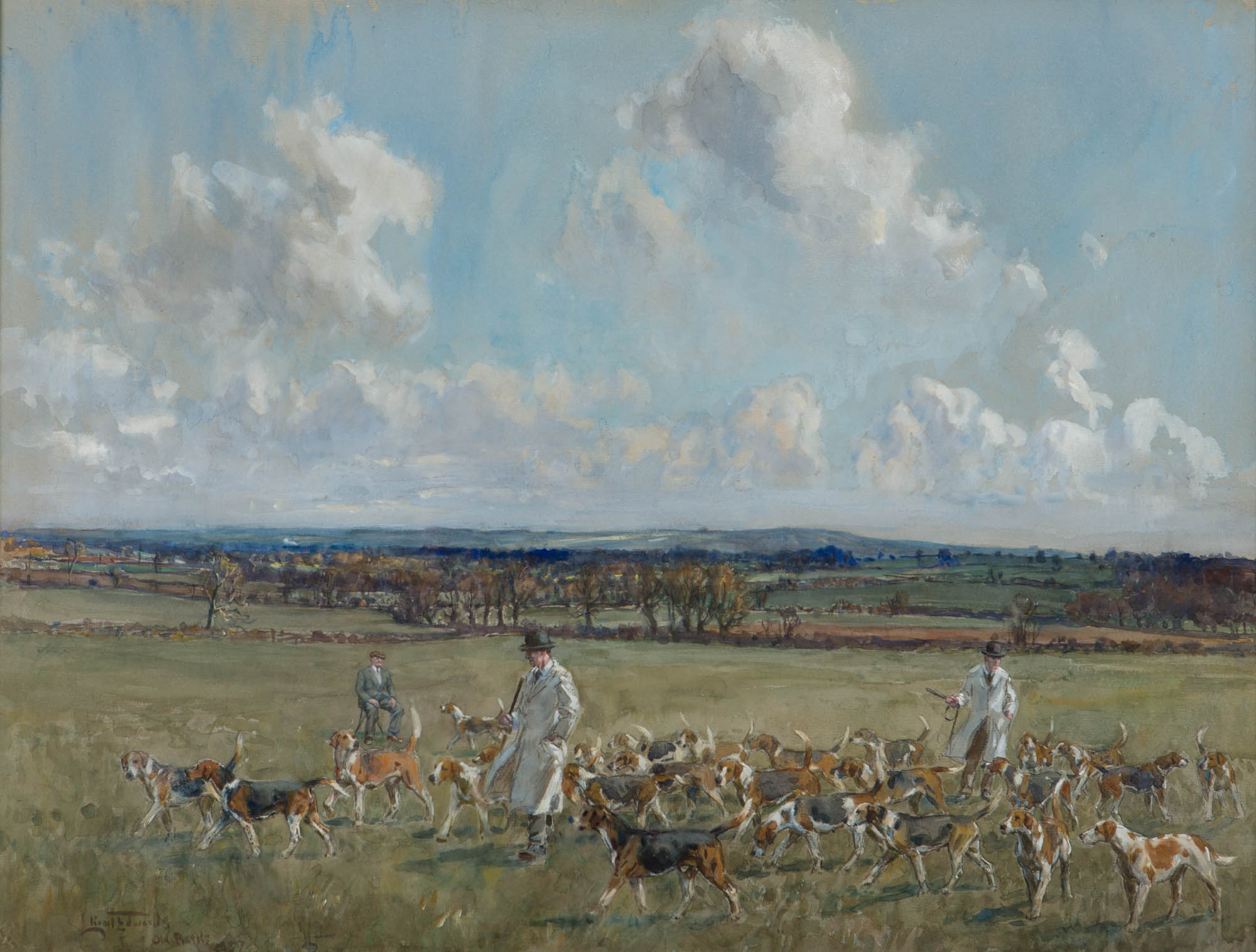 "Out with the ""Old Berk's"" Hounds – Selecting the Peterborough Show Entry, by Lionel Dalhousie Robertson Edwards (1878-1966)."