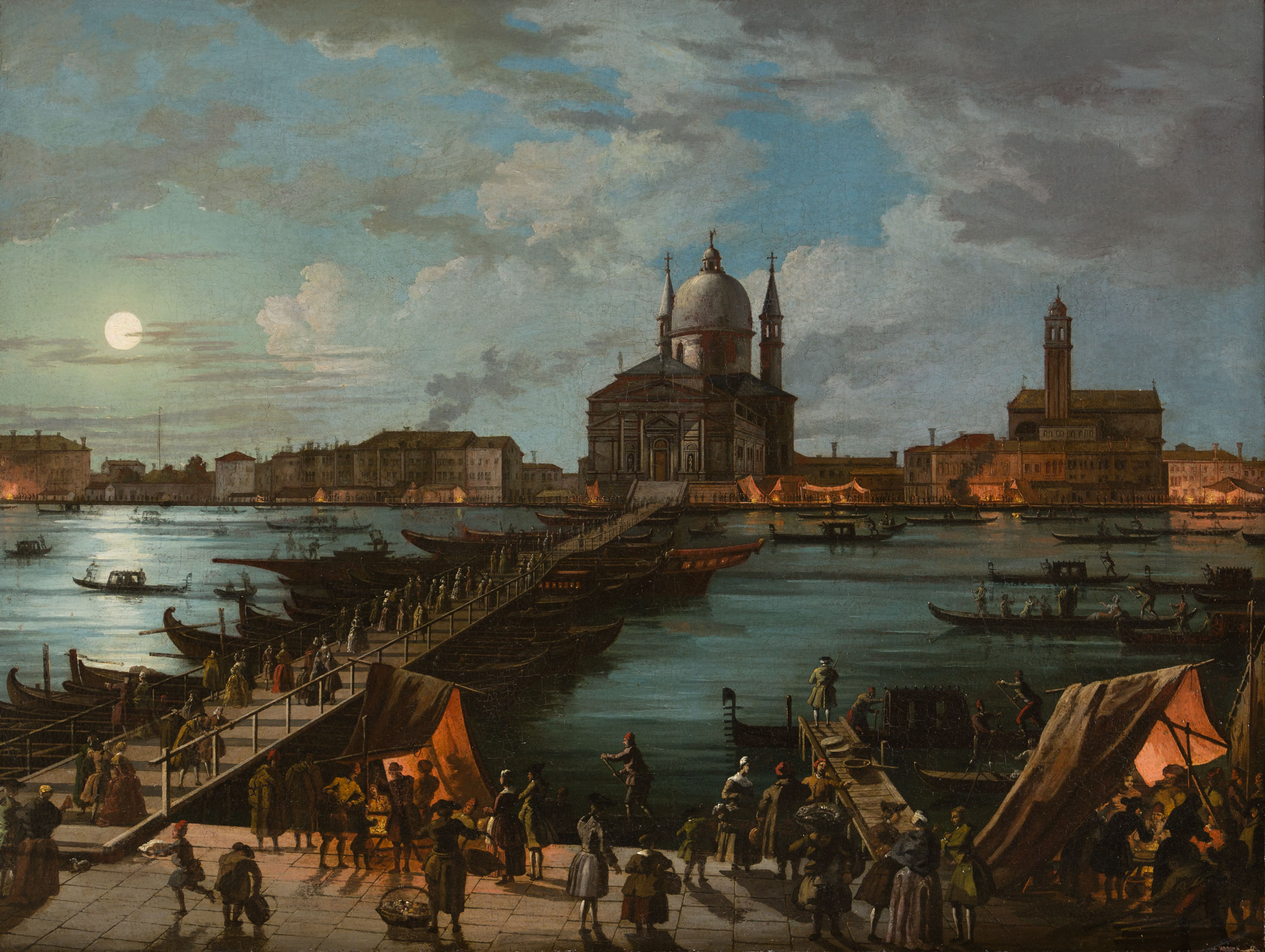 A View in Venice across the Guidecca on the Feast of the Redentore, Circle of Giuseppe-Bernadino Bison (1762-1844).
