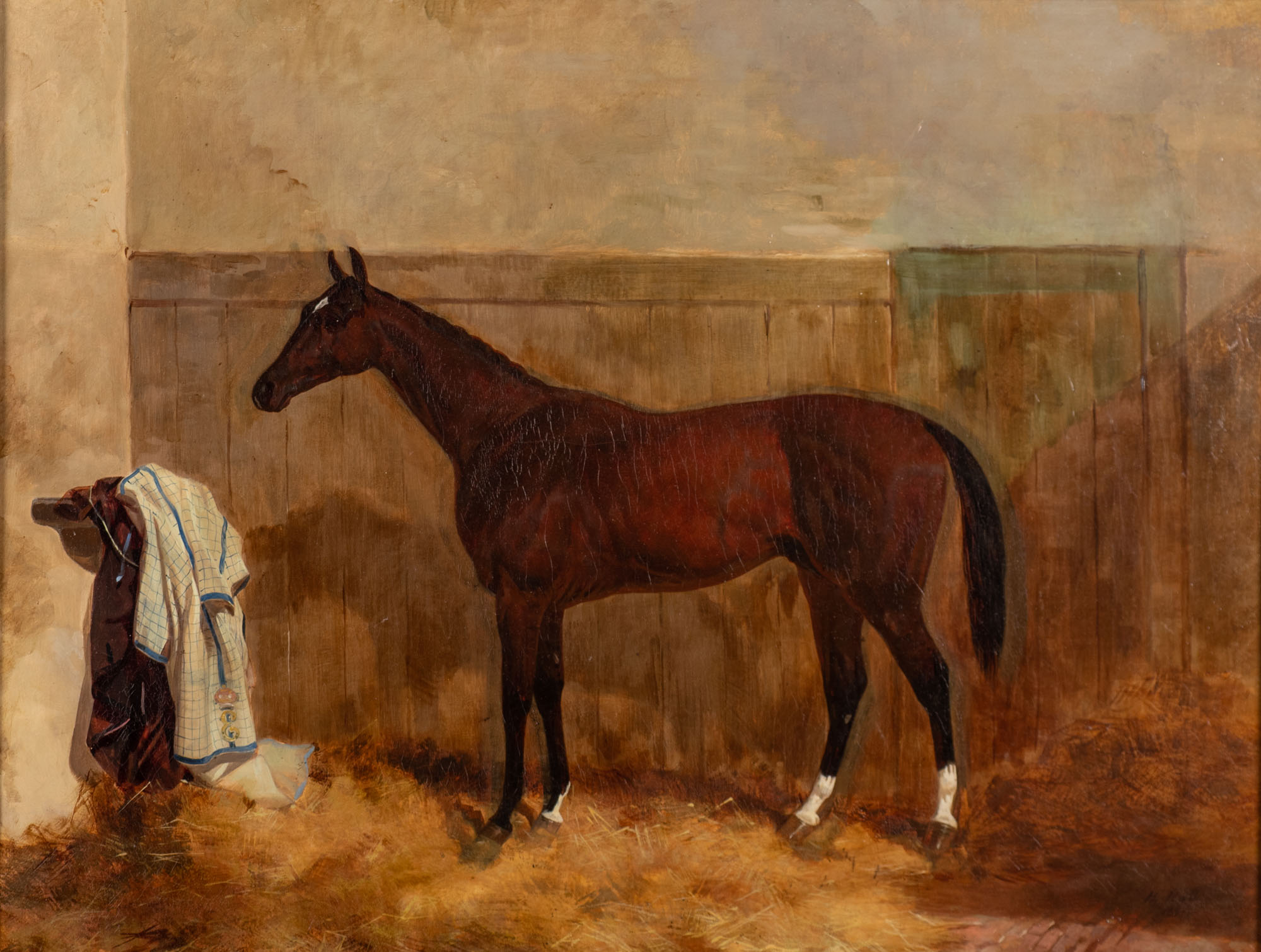 Little Jack, a Bay Racehorse in a Stable, by Harry Hall (1812-1888).
