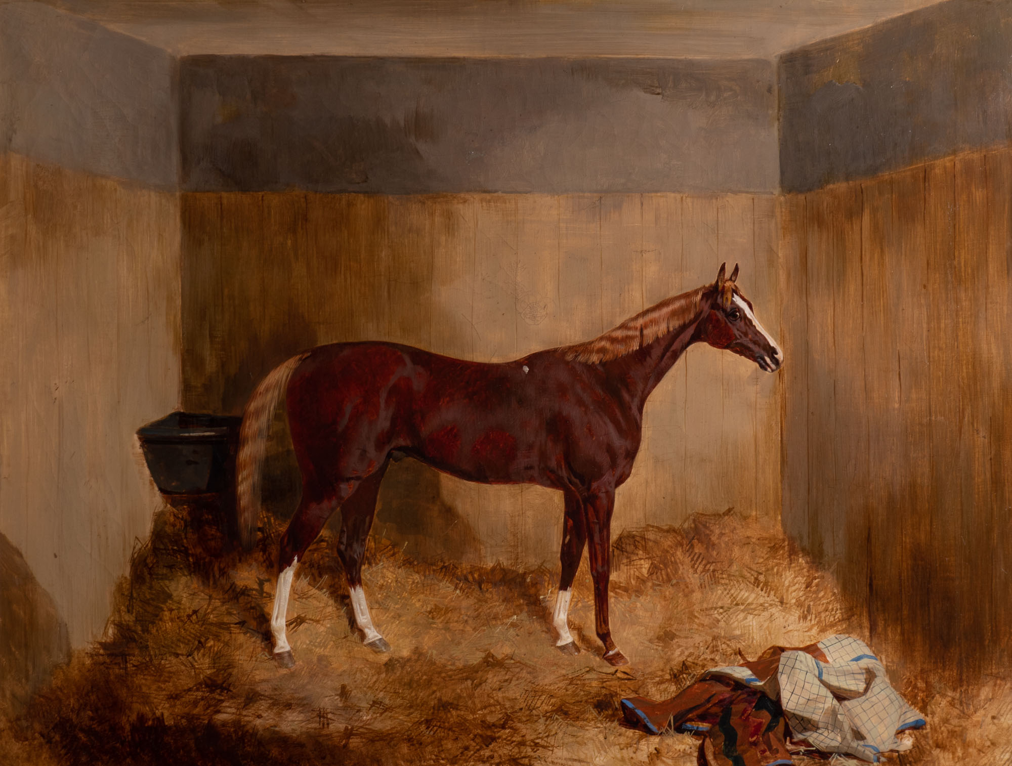 Mydas, a Strawberry Roan Racehorse in a Stable, by Harry Hall (1812-1888).