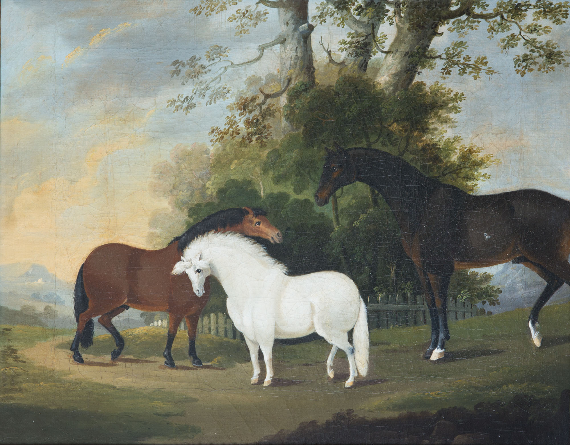 A Grey Pony, a Bay Pony and a Dark Bay Horse in a Field, Circle of Clifton Tomson (1775-1829).