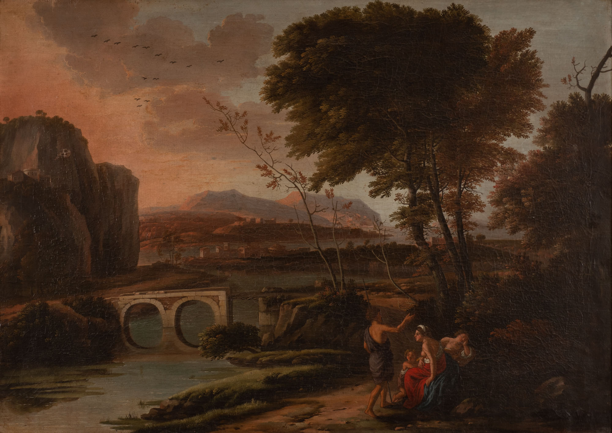 A Southern Landscape with Figures on a Roadway near a Bridge, 18th Century Imitator of Johannes Glauber (1646-c.1726).
