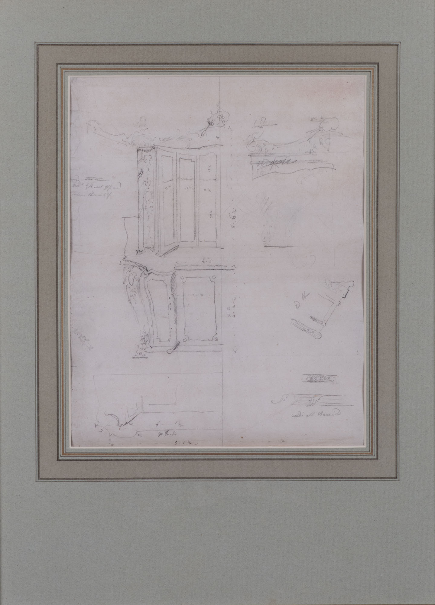 Design for a Book Cabinet, English School, circa 1740.