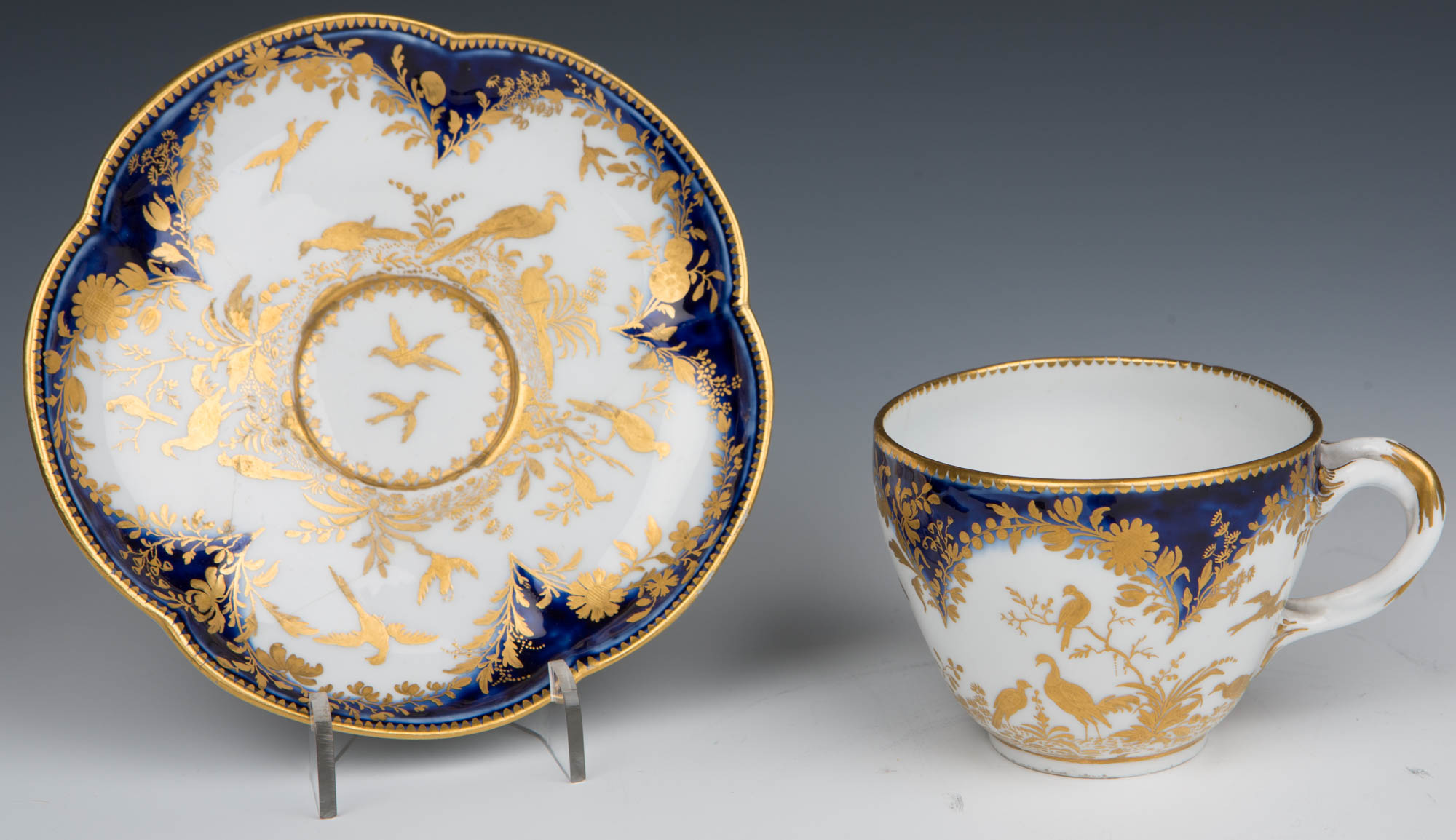 Two Chelsea cups and saucers, circa 1760.