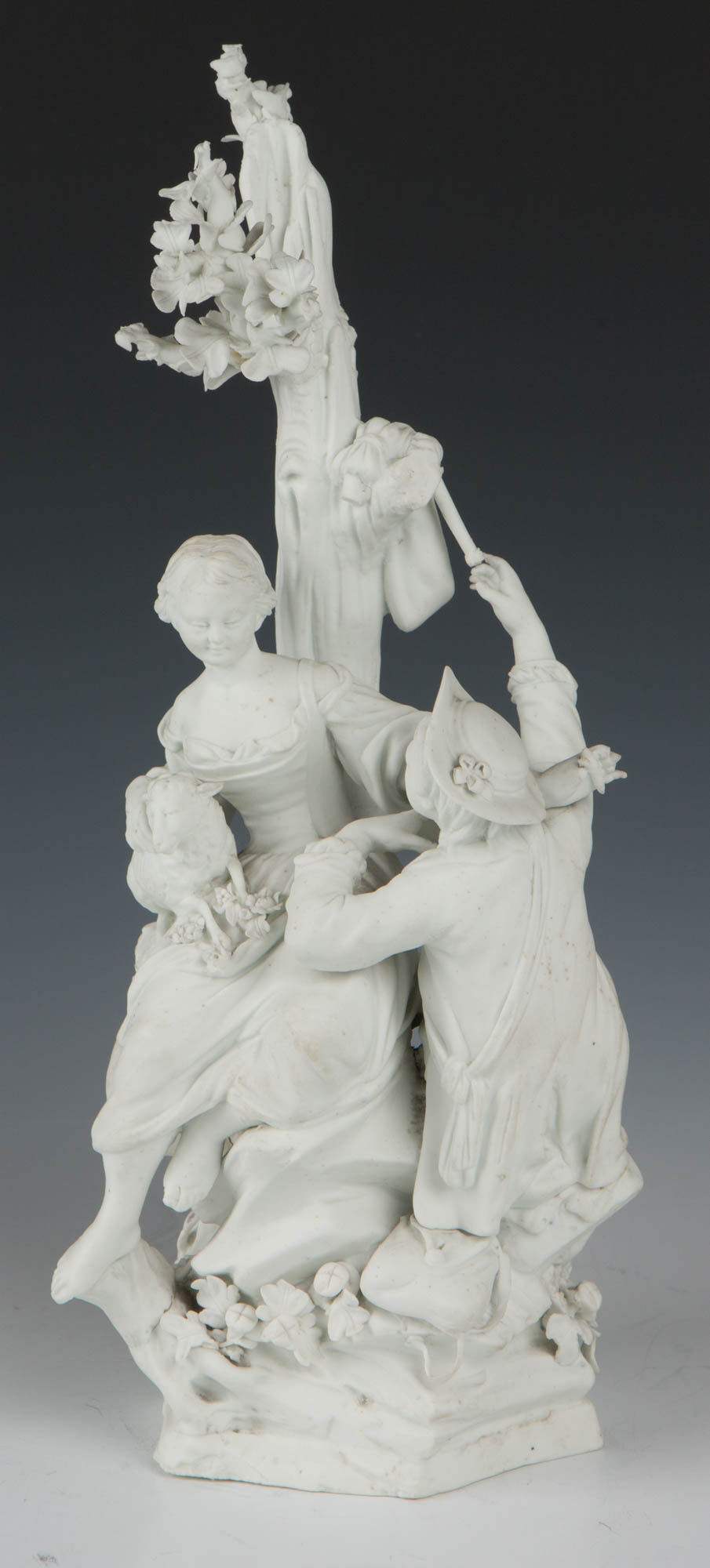 A Tournai biscuit group of a shepherd and shepherdess, 'La Déclaration', circa 1770.