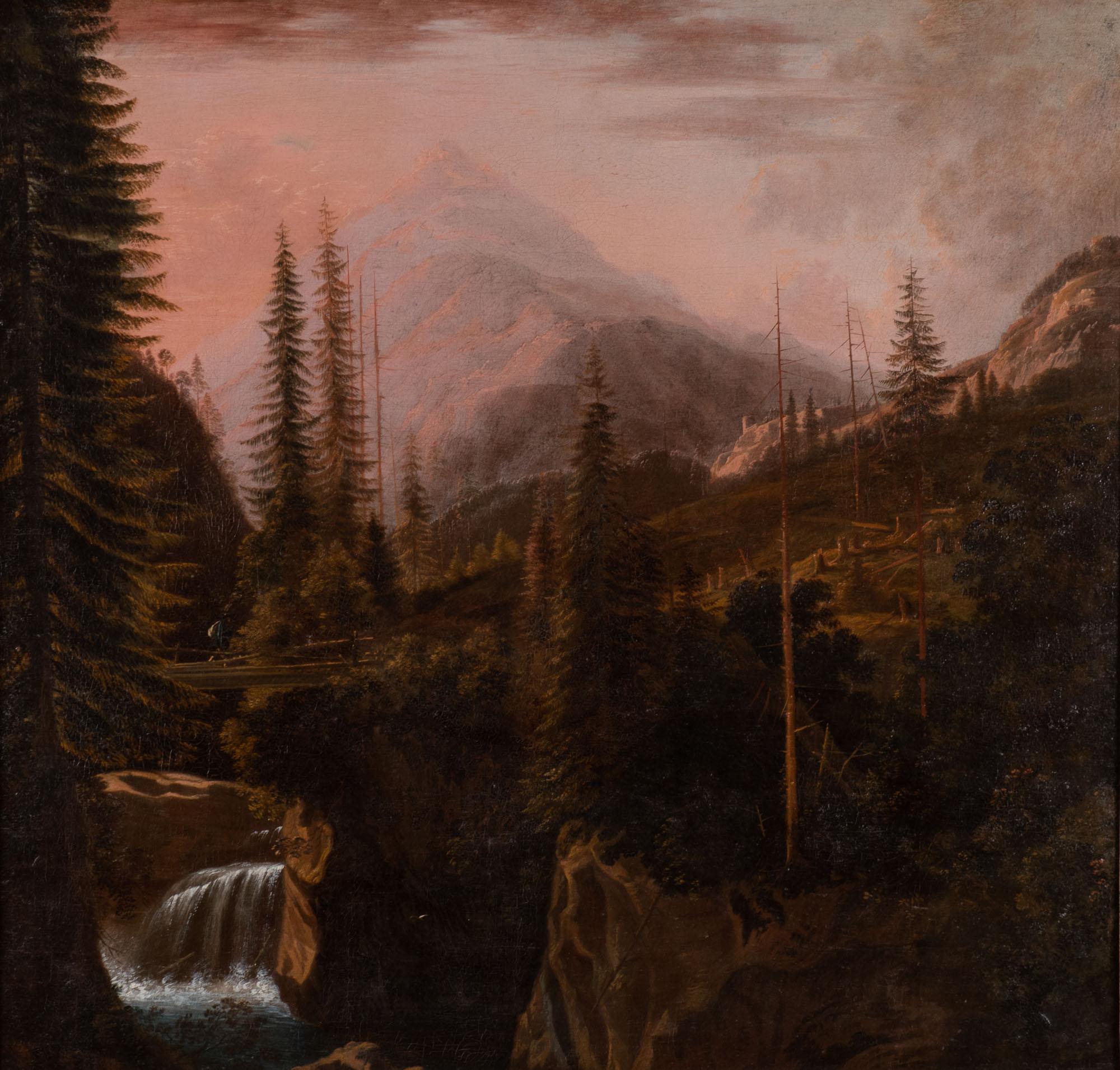 A Mountainous Landscape said to be Mont Blanc, Follower of Allaert van Everdingen (1621-1675).