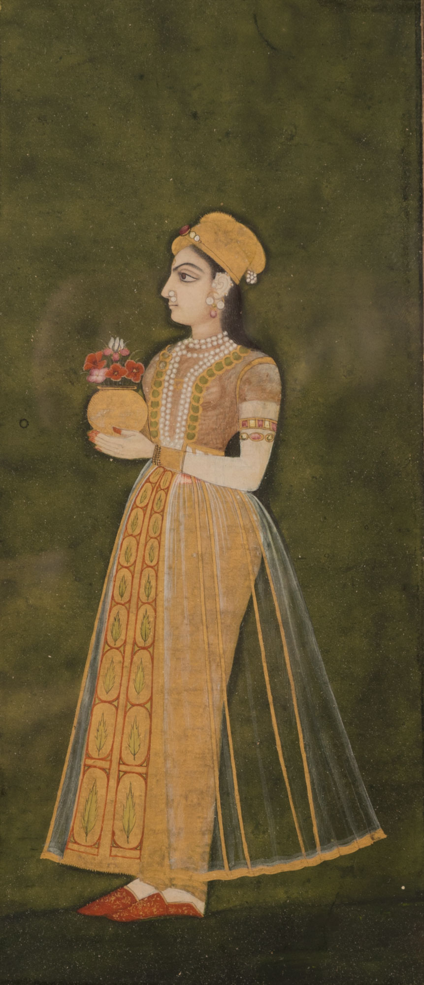 Two Mughal watercolour miniatures, mid 18th Century.