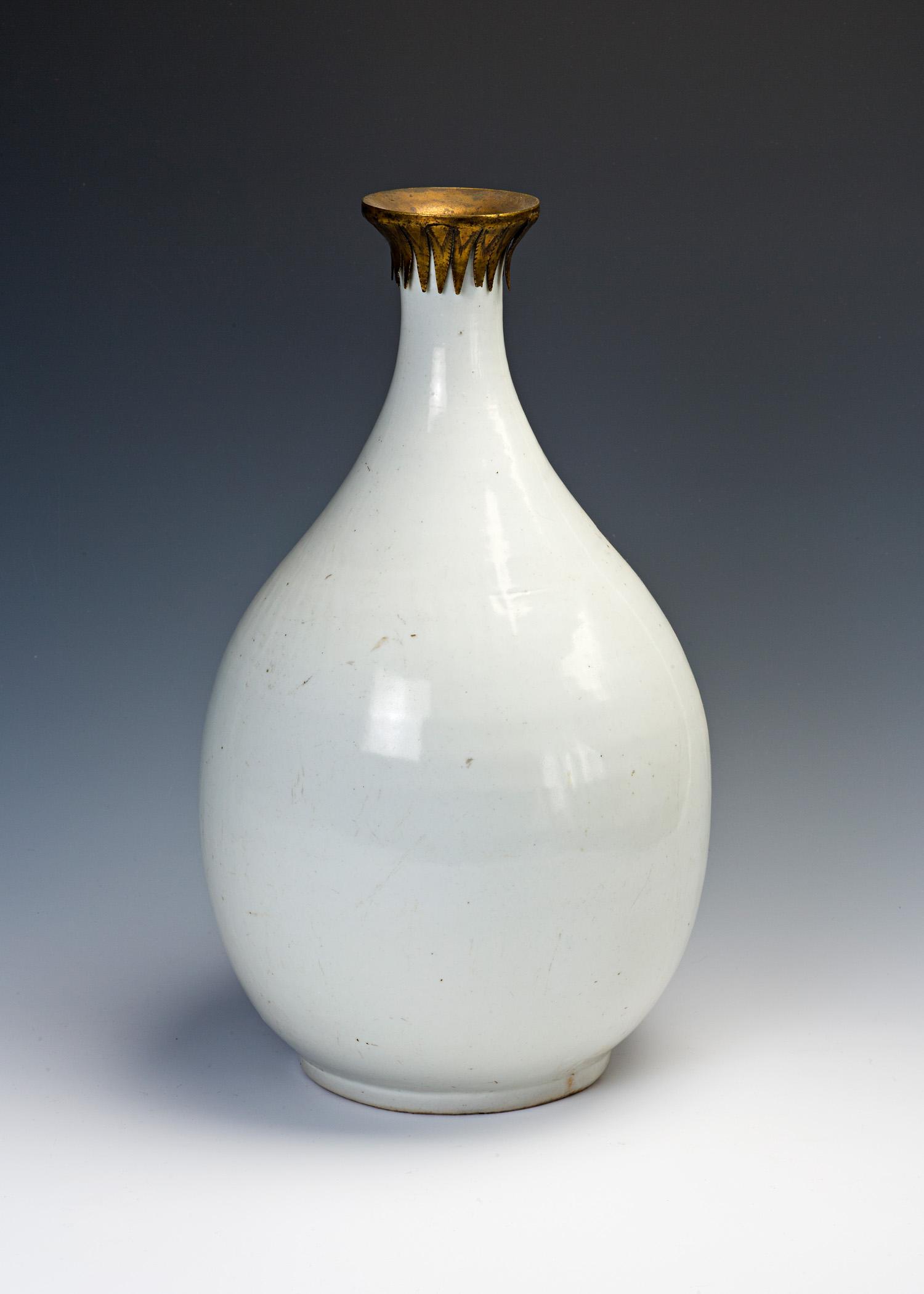A white glazed Korean bottle, first half 17th Century.