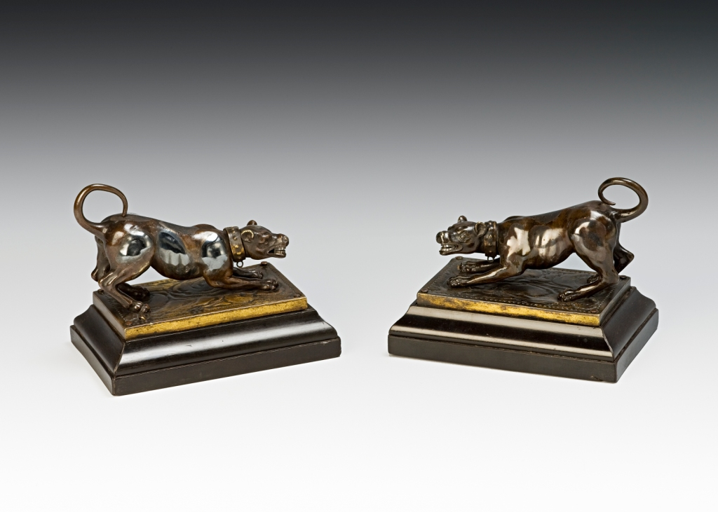 A pair of silvered and bronze hounds, North Italian, 17th Century.