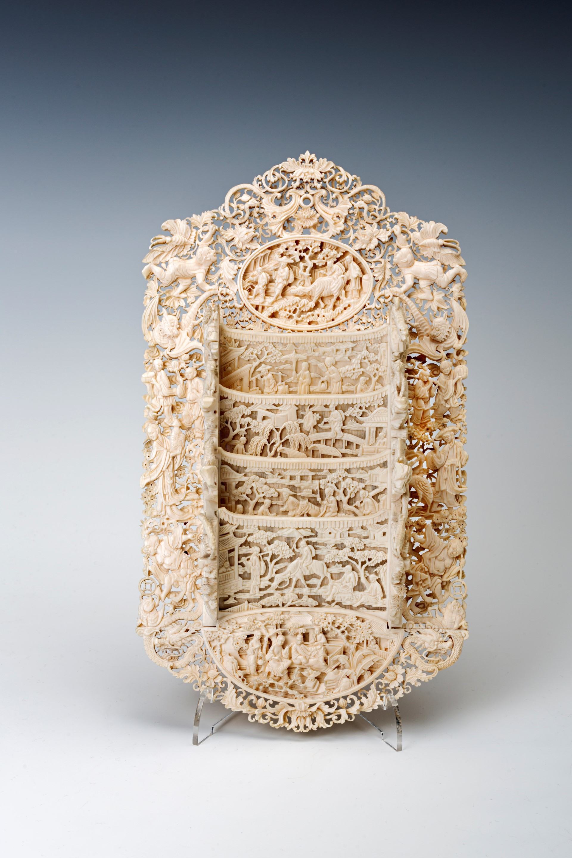 One of a pair of Chinese carved ivory letter racks, 19th Century.