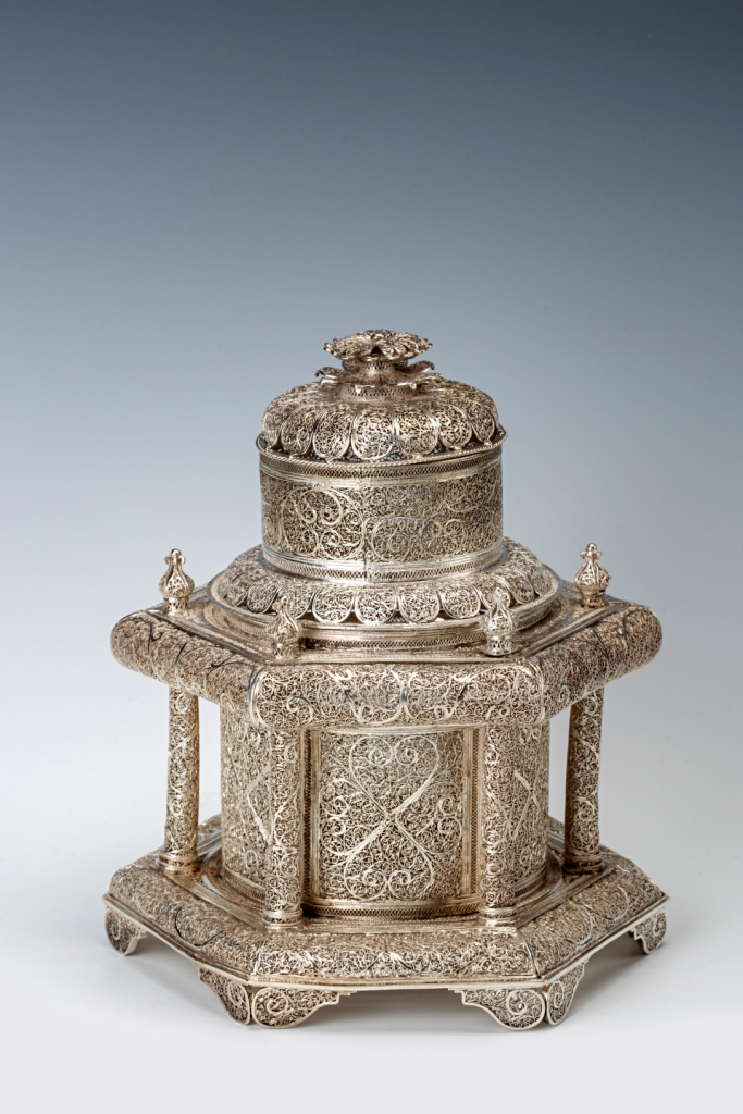 A silver filigree casket, in the form of a temple, 19th Century.