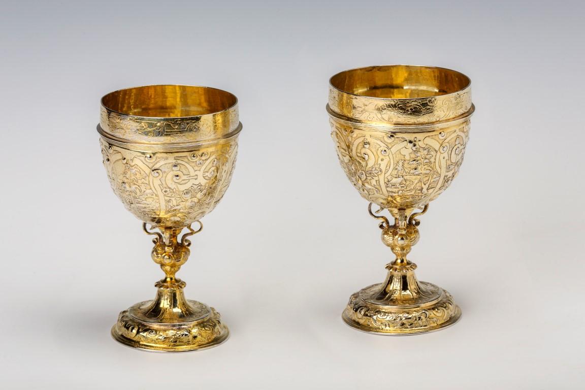 A silver-gilt double cup, German, circa 1600.